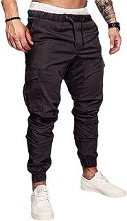 MogogoMen Casual Sports Drawstring Middle Waist Cotton Running Trousers