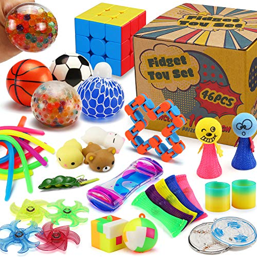 46 Pack Sensory Fidget Toys Set with Gift Box, Stress Relief and Anti-Anxiety Bulk for Kids Teens...