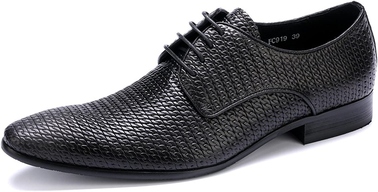 MEbox Mens Pointed-toe Breathable Leather Lined Perforated Dress Oxfords shoes