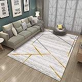 Home Alfombra De Diseño Moderna Alfombra de salón Grande Pelo Corto Antideslizante fácil de Limpiar Tapete de Juego para niños Línea Abstracta impresión Naranja 200x300CM