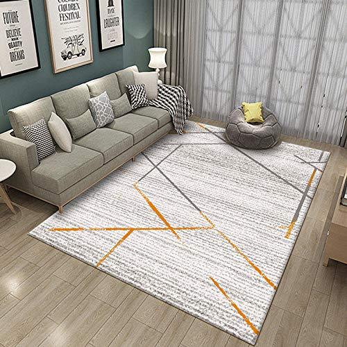 Simmia Home Alfombra De Salón Diseño Moderna Línea Naranja Gris Blanco 160 * 200 cm Rugs para Salón habitación Dormitorio Antideslizante Interior al Aire Libre