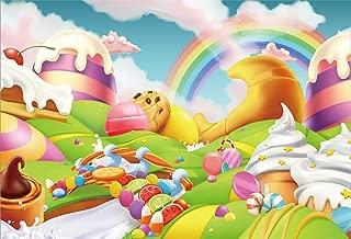 Yeele 10x8ft Fantasy Candy Land Backdrop for Photography Cartoon Rainbow Ice Cream Dessert Bckground Kids Birthday Party Decoration Girls Boy Baby Shower Banner Photo Booth Shoot Vinyl Studio Props