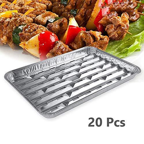 Duan Vassoi Barbecue USA e Getta, 20 PCS Rettangolare Hollow Foil Foil Vassoio Lamina, Accessori Outdoor Mini BBQ