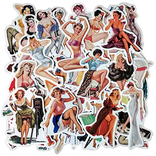 Sexy Pin Up Girl Stickers for Water Bottle, Laptop, Skateboard, Motorcycle, Car, Bike, Luggage, Trolley Case Decoration Waterproof Decals Sun-Proof 50 PCS No-Duplicate Stickers Pack