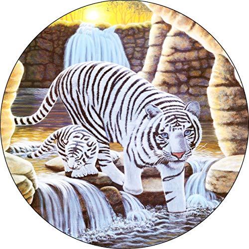 Hokdny Cubiertas De Neumáticos para Rueda De Repuesto Cueva De La Soledad De Los Tigres Blancos A Prueba De Polvo, Impermeable, Protección Solar Y Protección contra La Corrosión.