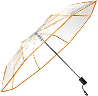 WerFamily Full Automatic Folding Transparent Clear Auto Open Travel Umbrella for Women Girls