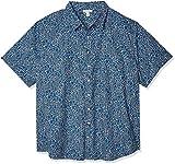 Amazon Essentials Men's Big & Tall Short-Sleeve Print Casual Poplin Shirt fit by DXL Shirt, -Blue Large Floral, 6X