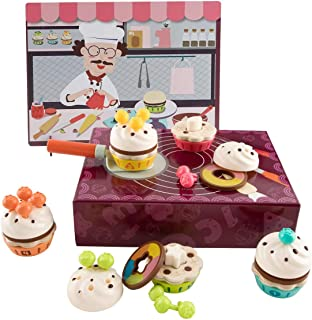 Mumoo Bear Cupcake Toy Games Wooden Cake Set, Pretend Play Food Decorate Cakes, Learning Fine Motor Skills