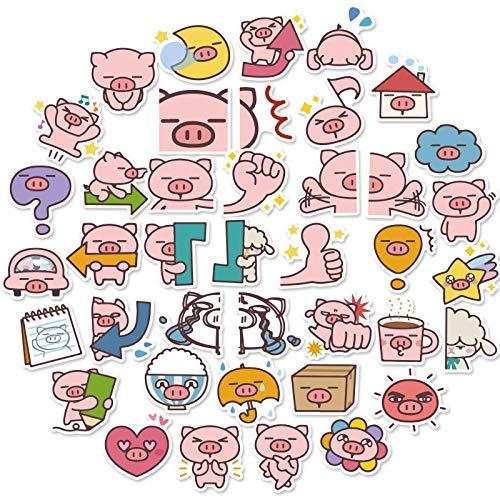 JZLMF Bonitas pegatinas de cerdo, adecuadas para teléfono móvil, taza, portátil, monopatín, guitarra, decoración, cuentas de vinilo, paquete de pegatinas