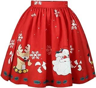 MS Mouse Womens Santa Christmas Printed Elastic Band Cute Flared Party Skirt