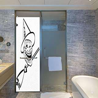 YOLIYANA Stained Glass Window Film,Humor Decor,for Bathroom Shower Door Heat Cotrol Anti UV,Halloween Spirit Themed Witch Guy Meme LOL Joy,24''x78''