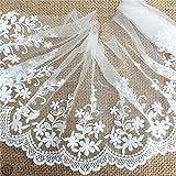 Zaione, tessuto ricamato con petali bianchi in cotone con bordo in pizzo, larghezza 15 cm, nastro in tulle per cucito, gonna da sposa, cucito, patchwork, fai da te (petali bianchi)