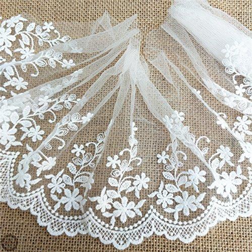 Zaione - Múltiples estilos, varios tamaños, bordado, de algodón, con borde de encaje, tela de tul de 5 yardas, cinta para manualidades, costura, falda de novia,apliques