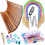 Exquiss Knitting Needles Set-18 Pairs 18 Sizes Bamboo Circular Knitting Needles with Colored Tube + 36 Pcs 18 Sizes Single Pointed Bamboo Knitting Needles 2.0 mm-10.0 mm + Weaving Tools Knitting Kits