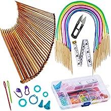 Exquiss Knitting Needles Set-18 Pairs 18 Sizes Bamboo Circular Knitting Needles with Colored Tube + 36 Pcs 18 Sizes Single Pointed Bamboo Knitting Needles 2.0 mm-10.0 mm + Weaving Tools Knitting Kits
