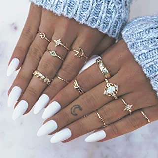 Nicute Boho Gold Rhinestone Stackable Joint Knuckle Ring Vintage Stars Carving Flower Finger Rings Set for Women and Girls(13 Pieces)