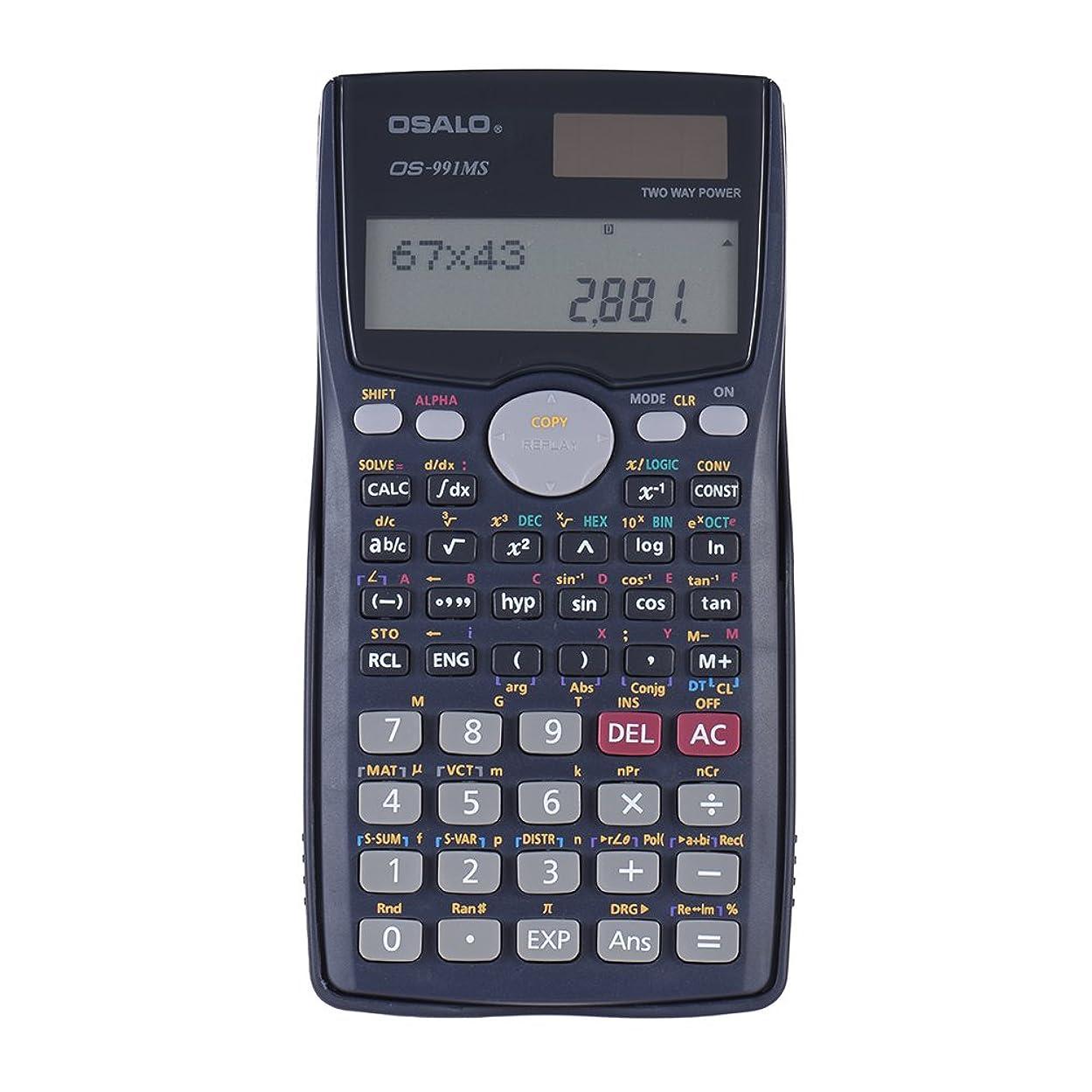 石膏スマート強度Aibecy 関数電卓 2桁表示 401機能 12桁 ソーラーとバッテリーデュアル搭載 OS-991MS