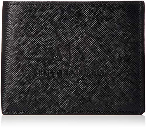Armani Exchange Leather Trifold Credit Card Wallet, Ripiegabile con Carta Uomo, Black, One Size
