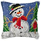 Latch Hook Pillow Kit DIY Throw Pillow Cover Printed Canvas Snowman Pattern Sewing Kit for Kids & Adults Christmas Decor 17'' x 17''