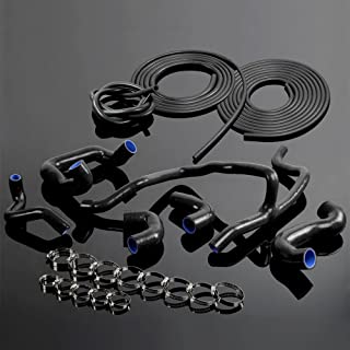 Silicone Radiator Hose + Vacuum Kit For BMW E30 M20 325 325i 6cy 1988-1993 89 90 91 92 Black(WITHOUT AIR CONDITIONING MODEL)