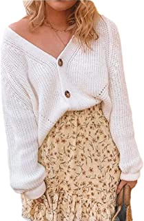 Women V-Neck Button Long Sleeve Knit Tops Cardigan Sweater Tops