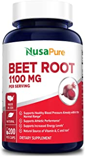 Beet Root 1100mg 200 Veggie caps (Non-GMO & Gluten Free,Made with Organic Beet Root..