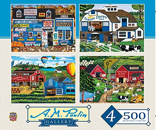 MasterPieces Multi Pack Puzzles Collection - Poulin 4-Pack 500 Piece Jigsaw Puzzle