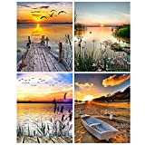 Aodaer 4 Pack Oil Painting by Numbers Kit DIY Canvas Painting with Drawing Paintwork and Paintbrushes for Adults Beginner Arts Craft, 16 x 20 Inch