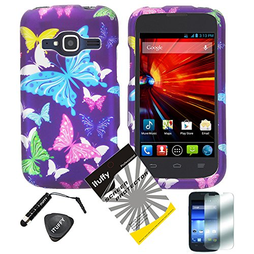 4 items Combo: ITUFFY (TM) LCD Screen Protector Film + Mini Stylus Pen + Case Opener + Design Rubberized Snap on Hard Shell Cover Faceplate Skin Phone Case for ZTE Concord II 2 Z730 T-Mobile/MetroPCS (Purple Color Butterfly)
