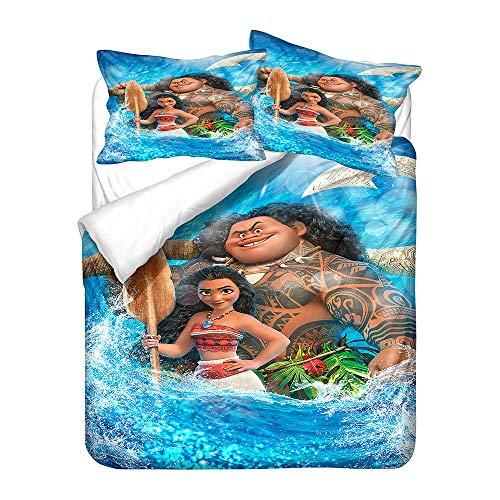 POMJK Moana Maui - Juego de ropa de cama, impresión digital 3D, microfibra, ropa de cama infantil, incluye 1 funda nórdica y 2 fundas de almohada (A03, King220 x 240 cm)