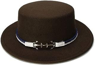HongJie Hou Women Men Vintage Wool Wide Brim Top Cap Pork Pie Pork-pie Bowler Hat Double Anchor Nylon Band
