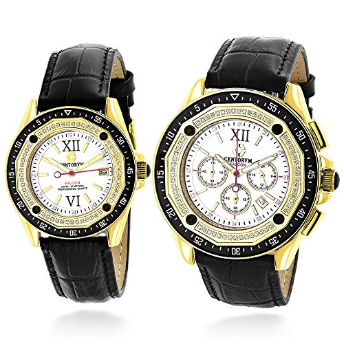 Matching His and Hers Watches: Centorum Diamond Watch Set: 1.05ct