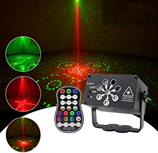 Mini Stage Laser Lights, Disco Projector Party Lights with Remote Control Rechargeable Strobe Stage Lights for Xmas Club B...