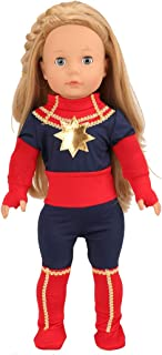 Miunana Captain Marvel Avengers American 18 Inch Girl Doll Clothes for Includes 1 Jumpsuit + 2 Gloves + 2 Cloth Boots
