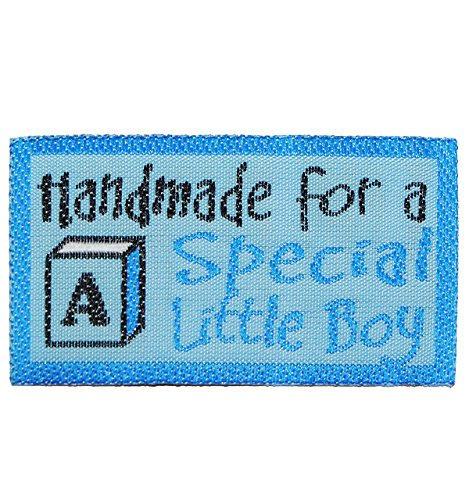 """Bügelbild Etikett - """" Handmade for a special little Boy """" - 5,2 cm * 2,8 cm - Aufnäher gewebter Flicken / Applikation - für Kinder - Mädchen Jungen - Handmade - z.B. für selbstgenähte Sachen - Baby"""