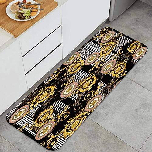 PUIO Juegos de alfombras de Cocina Multiusos,Vector sin Costuras Barroco Dorado con Fondo geométrico Griego,Alfombrillas cómodas para Uso en el Piso de Cocina súper absorbentes y Antideslizantes