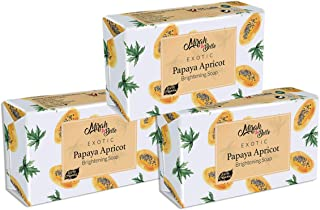 Mirah Belle - Organic Papaya Apricot - Skin Brightening Soap Bar (Pack of 3) - For Tanned and Fatigued Skin - Helps Whiten and Brighten Skin - Best for Fair and Smooth Skin - Face and Body Soap for Men and Women - Vegan, Natural and Handmade Soap - Sulfate and Paraben Free - 375 gms