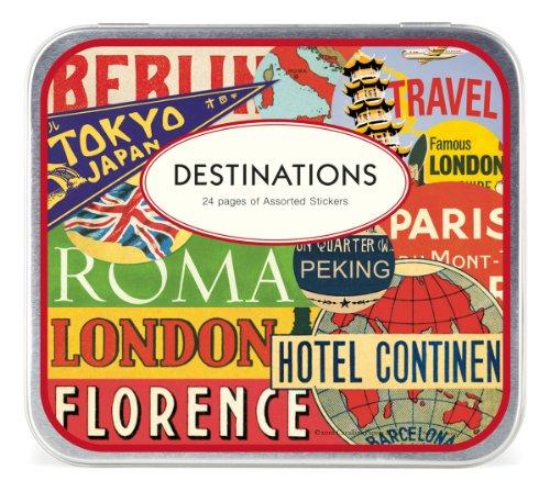 Cavallini & Co. Destinations - Pegatinas decorativas en lata (24 hojas)