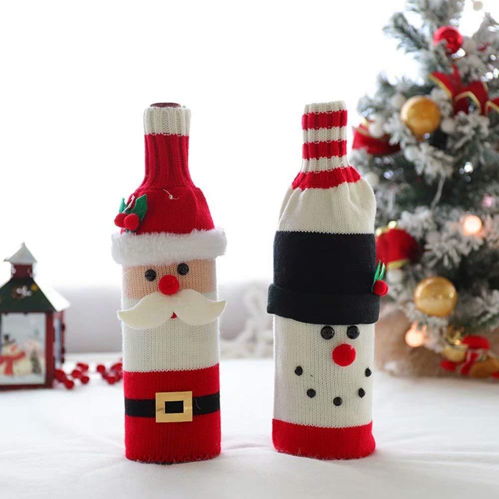 AA-SS Tejiendo la Tapa de la Botella de Vino de Navidad, Decoraciones navideñas Set de Vino de Punto Bolsas de Botella de Vino Navidad, Decoraciones de Fiesta: Amazon.es: Hogar