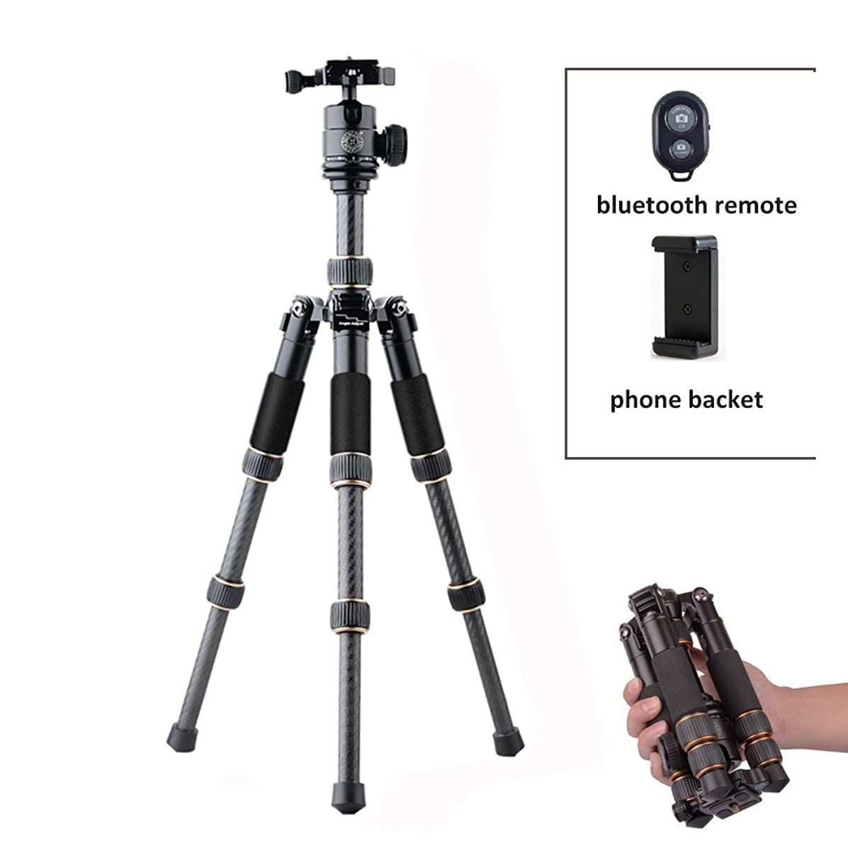 QZSD Q166C Carbon Fiber Portable Traveling Desktop Mini Tripod Monopod Sefie Sticker with Ball Head for Canon Nikon Sony DSLR Cameras and iPhone Smartphone, Phone Holder and Bluetooth as Gifts