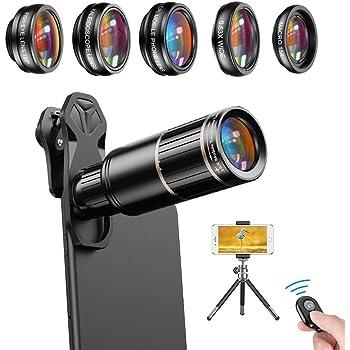 APEXEL Kit de lentes 6 en 1,teleobjetivo 16X+ojo de pez 198 °+ ...