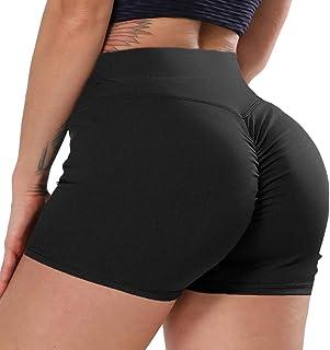 Women High Waist Yoga Shorts Ruched Butt Lift Athletic Shorts Scrunch Hot Pants
