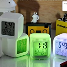 BUYERZONE WITH BZ LOGO Plastic Colour Changing LED Digital Alarm Clock with Date, Time, Temperature (Multicolour)