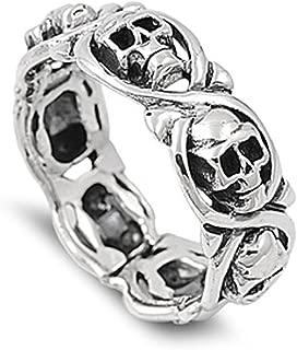 Sterling Silver Women's Mens Biker Infinity Skull Ring Cute Band 8mm Sizes 5-14