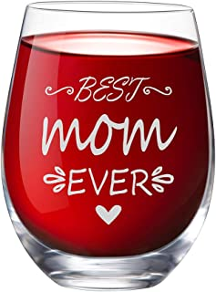 IFOLAINA Stemless Wine Glass 15 oz Novelty Crystal Cup with Sayings Best Mom Ever Funny Gifts Party Accessories for Mom Mother Women Friend