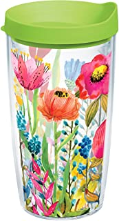 Tervis 1208548 Watercolor Wildflowers Tumbler with Wrap and Lime Green Lid 16oz, Clear