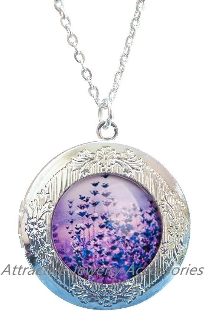 Purple lavender Locket Necklace, nature Locket Necklace Locket Pendant, purple lavender Locket Necklace, purple Locket Necklace,QK071
