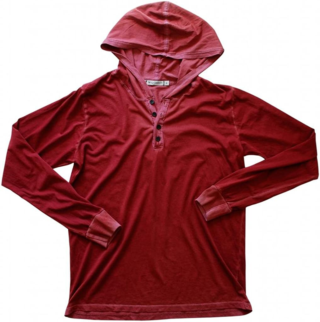 Wicked Quick Lightweight Jersey Henley Hoodie-Red Cruise-M