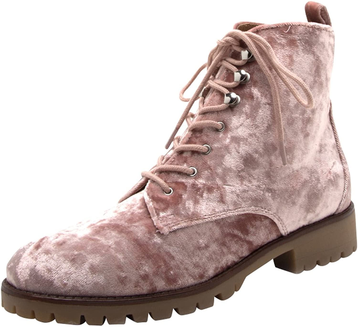 Cambridge Select Women's Closed Round Toe Lace-Up Chunky Lug Sole Combat Boot