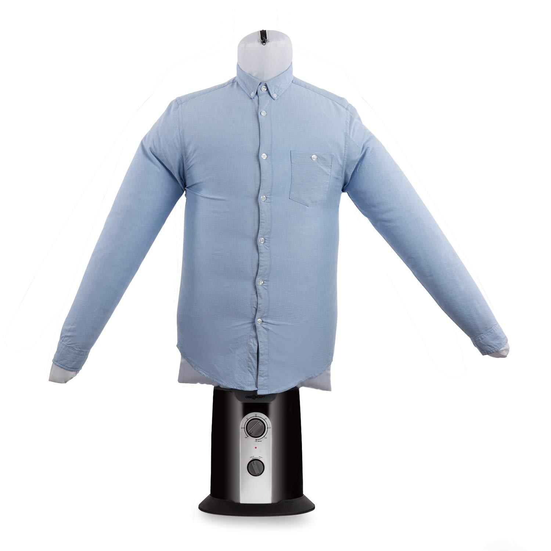 Oneconcept ShirtButler Clean Edition - Secador de Camisas automático, 2 en 1: Seca y Plancha, Maniquí de Planchado, Aire frío y Caliente, Easy-Dry, Tallas Desde S hasta L, hasta 65 °C, Negro: